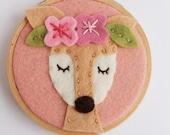 Deer Art / Deer Decor / Deer Embroidery Hoop Art / Deer wall art / Deer Lover / Doe Felt Hoop Art / Doe Wall Decor / Boho Deer / Girls Decor
