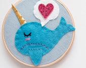 Narwhal Embroidery Hoop Art with Conversation Heart, Nursery Wall Art, Whimsical Narwhal, Ocean Nursery Decor, Felt Hoop Art