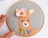 Llama Wall Art / Alpaca Wall Decor / Nursery Wall Art / Embroidery Hoop Art / Boho Llama Decor / Bohemian Animal Wall Art / Girls Decor