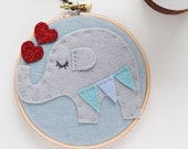Elephant Wall Art, Elephant Wall Decor, Embroidery Hoop Art, Felt Hoop Art, Whimsical Creature, Animal Wall Art, Baby Nursery, Girl Boy