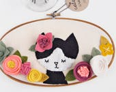 Felt Embroidery Hoop Art. Nursery Wall Decor. Tuxedo Cat. Felt Floral Wall Hanging. Gifts Under 100. Gift for Women. Felt Flower Sign