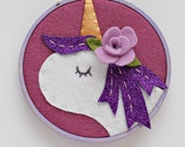 Purple Unicorn Embroidery Hoop Art, Nursery Wall Decor with Lilac Flower