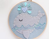 Whimsical Creature - Gray Whale Wall Art - Nursery Decor - Felt Hoop Art - Hand Embroidery - Ocean Nursery - Baby Boy - Girl - Shower Gift