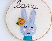Personalized Bunny Embroidery Hoop Art, Baby Name Sign, Gifts for Mom