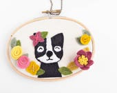 Nursery Wall Decor. Dog Art. Felt Embroidery Hoop Art. Boston Terrier. Nursery Art. Animal Wall Hanging. Gifts Under 50.  Gift for Her