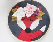 Whimsical Fox with Felt Flower Crown, Boho Nursery, Baby Girl Gift, Red Fox, Woodland Wall Decor, Felt Hoop Art, Felt Applique, Embroidery