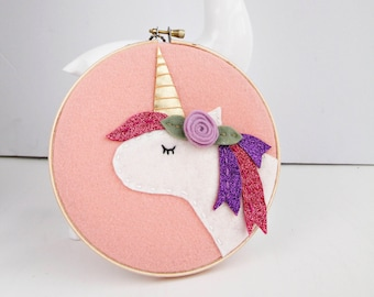Mother's Day Gift, Unicorn Wall Art. Gift for New Baby. Gift for Her. Sparkly Unicorn. Boho Unicorn. Mom Present. Felt Applique Wall Hanging