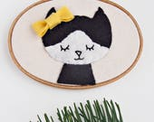 Nursery Wall Decor - Embroidery Hoop Art - Cat Wall Art - Gift Under 50 -  Black and White Cat - Gift for Baby  - Kitty Wall Art