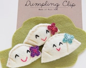 Felt Dumpling Alligator Hair Clip with Felt Flower