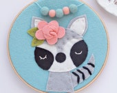 Raccoon Forest Themed Nursery Art / Embroidery Hoop Art / Boho Nursery / Baby Girl Gift / Felt Hoop Art / Woodland Nursery Ideas