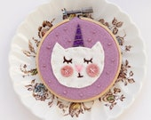 Caticorn Wall Art, Unicat Art, Magical Cat, Embroidery Hoop Art, Nursery Wall Art, Cat Mom Gift