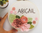 Personalized Embroidery Hoop Art, Felt Flower Wall Art, Nursery Name Sign, Custom Embroidery, Felt Nursery Decor, Pink and White Wall Art