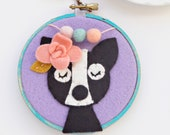 Boston Terrier Art with Felt Flowers and Felt Pom Poms /Felt Embroidery Hoop Art / Dog Wall Art / Dog Portrait / Dog Lover Gift