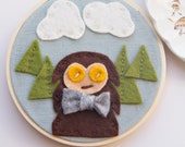 Sasquatch Wall Art / Yeti Wall Decor / Felt Embroidery Hoop Art / Pacific Northwest Gift Souvenir / Forest Themed Nursery