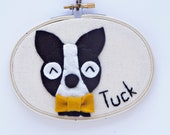 Personalized Wall Art / Boston Terrier Art / Name Sign / Name Sign Dog Wall Art / Embroidery Hoop Art
