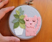 Pink Cat with Fiddleleaf, Felt Nursery Decor, Kitty with Plants, Embroidery Hoop Art, Plant Mom Gift, Cat Lover, Cats & Plants Collection