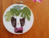 Cat with Bowtie Felt Nursery Decor, Kitty with Plants, Embroidery Hoop Art, Plant Mom Gift, Cat Lover, Cats & Plants Collection