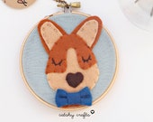 Corgi Art, Pembroke Welsh Corgi, Felt Embroidery Hoop Art, Animal Wall Art, Kids Room Decor, Dog Mom Gift, Corgi Lover, Boy Corgi Portrait