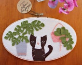 Brown Tuxedo Cat with Monstera and String of Hearts / Embroidery Hoop Art / Cats and Plants Collection