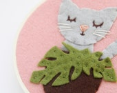 Cat and Monstera Embroidery Hoop Art, Felt Hoop Art, Plant Mom Gift, Cat Lover, Pink and Green
