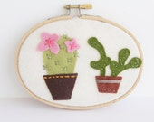 Cactus Embroidery Hoop, Succulent Wall Art, Potted Houseplants, Embroidery Hoop Art, Plant Lady Gift, Office Decor, Dorm Decor