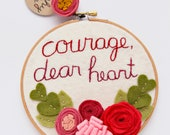 "Courage Dear Heart Felt Flower Embroidery Hoop Wall Art, Red and Pink 6"", CS Lewis Quote"