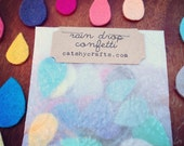 Colorful Raindrop Felt Confetti in Lovely Packaging, Perfect embellishment for your crafts, Color Swatches, Glassine embossed envelope
