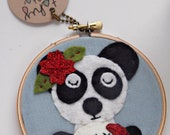 Panda and Dumpling Wall Art, Embroidery Hoop Art, Felt Hoop Art, Animal Art, Hand Embroidery, Modern Embroidery, 3D Wall Art, Quirky Art