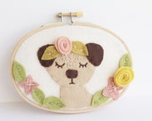 Felt  Embroidery Hoop Art. Pug Wall Art. Dog Gift For Her. Felt Applique. Boho Nursery Decor. Playroom Gallery Wall Floral Wreath Design