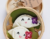 Dumpling Gift Set, Set of 2 Felt Dumplings in Bamboo Steamer