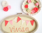 Personalized Name Sign, Embroidery Hoop Art, Felt Bunting, Custom Name Plaque, Baby Shower Gift, Coral and White Wall Art, Nursery Decor