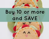Set of 10 Taco Hair Clips, Felt Taco Hair Accessories, Girls Hair Clip, Alligator Clips, Party Favors, Gifts for Her