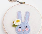 Woodland Nursery Art / Embroidery Hoop Art / Boho Nursery / Rabbit Wall Art / Baby Girl Gift / Gift for Baby / Felt Hoop Art