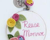 Personalized Wall Art, Embroidery Hoop Art, Floral Art