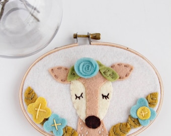 Deer Embroidery Hoop Art, Felt Hoop Art, Boho Deer Art, Doe Wall Art, Woodland Nursery Art, Deer Wall Decor, Baby Shower Gift for Baby Girl