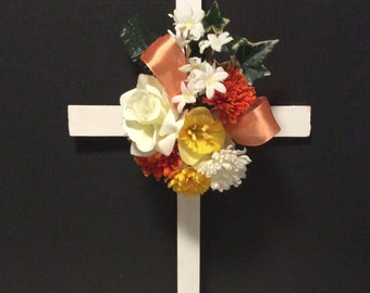 Cemetery Cross, Cemetery Flowers, Grave Marker, Memorial Cross, Grave Decoration