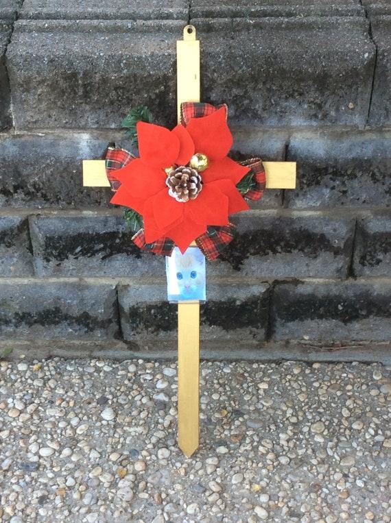 Christmas Cemetery Cross Memorial Cross Cemetery Cross with Flowers