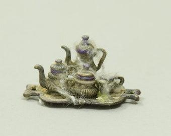 Haunted Tea Set - Dollhouse Miniature - 1:12 scale Artisan Handmade