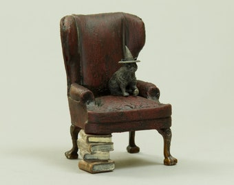 Witch Cat sitting in leather wingback armchair - Dollhouse Miniature Furniture - 1:12 scale Artisan Handmade