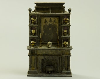 Witch's Haunted Fireplace - Dollhouse Miniature - 1:12 scale Artisan Handmade