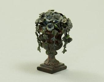 Potted Flower Arrangement - Dollhouse Miniature - 1:12 scale Artisan Handmade