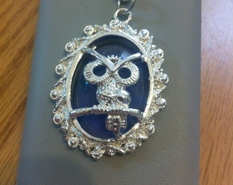 Acrylic owl with see thru stone necklace