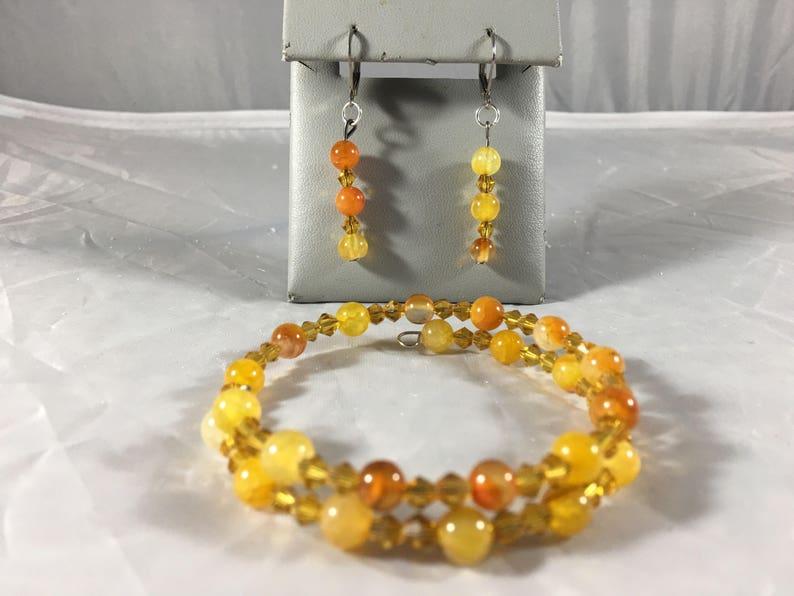 Amber beaded bracelet and earring set
