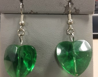 Green crystal heart puff earrings