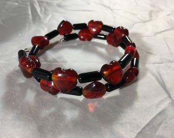 Black and red heart beaded bracelet