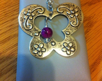 Silver butterly with bead necklace