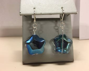 Sparkly star glass earrings