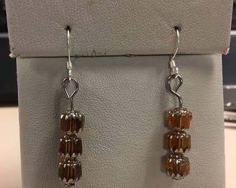 Brown beaded earrings