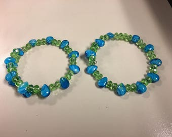 Blue and green beaded bracelets