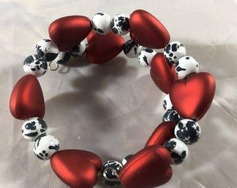 Red white and black heart beaded bracelet